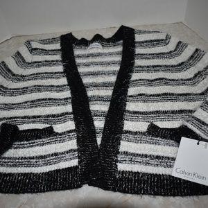 Calvin Klein Black White Furry Cardigan Sweater XL